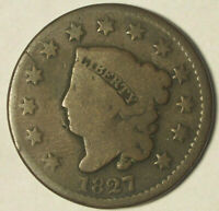 1827 LARGE CENT-CIRCULATED CONDITION