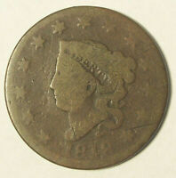 1818 CORONET HEAD LARGE CENT PENNY - CIRCULATED CONDITION WORN