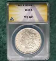 1889 ANACS MINT STATE 62 MORGAN SILVER DOLLAR, ANACS CERTIFIED MINT STATE 62 SILVER $1 COIN