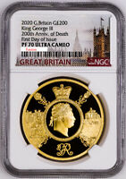 GREAT BRITAIN UK 2020 200 KING GEORGE III ROYALTY 2 OZ GOLD COIN NGC PF70 F.DAY