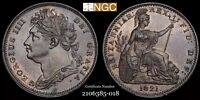 1821 GREAT BRITAIN GEORGE IV FARTHING 1/4P NGC MS65 BN