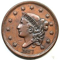 1837 N 11 HEAD OF 38 MATRON OR CORONET HEAD LARGE CENT COIN