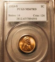 1953-S LINCOLN CENT PCGS MINT STATE 67 RED