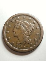 1851 BRAIDED HAIR COPPER LARGE CENT VF DETAILS US TYPE COIN
