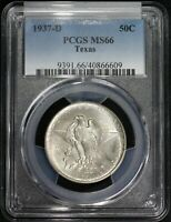 1937 D TEXAS COMMEMORATIVE SILVER HALF DOLLAR PCGS MINT STATE 66 HIGH GRADE LUSTROUS COIN