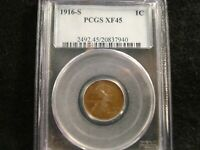 1916-S LINCOLN CENT - PCGS EXTRA FINE 45