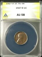 1927-D LINCOLN HEAD CENT PENNY 1C CIRCULATED ANACS AU58