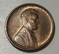 1909 P VDB LINCOLN WHEAT CENT UNC RED/BROWN LOT S43
