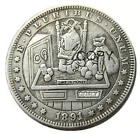 US HOBO 1891 SCROOGE MCDUCK TIME IS MONEY ZOMBIE DOLLAR NOVELTY FANTASY COIN.