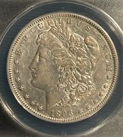 1893 $1 MORGAN SILVER DOLLAR - ANACS GRADED AU 50 DETAILS CLEANED - COMBINE SHIP