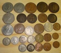 LOT OF 28 ASSORTED ENGLISH COINS FROM 1914 SOME SILVER LARGE