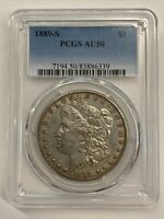 1889-S $1 MORGAN SILVER DOLLAR AU50