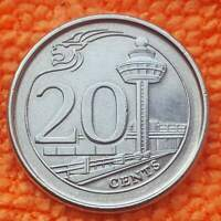 SINGAPORE 20 CENTS 2013 KM 347 UNCIRCULATED