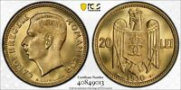 1930 A ROMANIA 20 LEI PCGS MS66 PARIS MINT