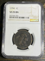 1794 LARGE CENT NGC VF25BN GREAT EARLY CENT
