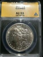 1887-S $1 MORGAN SILVER DOLLAR - CLEANED - AU53 DETAILS CERTIFIED BY ANACS