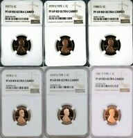 1977 1983 S PROOF LINCOLN PENNY NGC PF 69 ULTRA CAMEO   8 CO