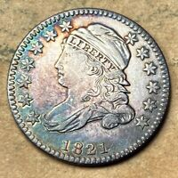 1821 CAPPED BUST DIME  EXTRA FINE /AU