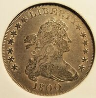 1800 DOTTED DATE DRAPED BUST SILVER DOLLAR