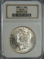 1898-O $1 MORGAN SILVER DOLLAR NGC MINT STATE 64 256992-019 GREAT EYE APPEAL