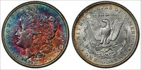 1902-P MORGAN SILVER DOLLAR VIBRANT NEON COLOR TONED GREAT LUSTER AU APPEAL MR