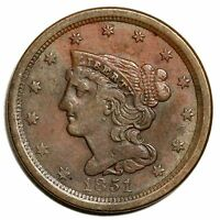 1851 C 1 FLATLY STRUCK BRAIDED HAIR HALF CENT COIN 1/2C