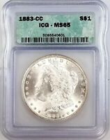 1883 CC MORGAN DOLLAR MINT STATE 65 LOOKS 66 OR BETTER IN HAND  HIGH GRADE PQ
