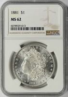 1881 MORGAN SILVER DOLLAR $1 NGC MINT STATE 62