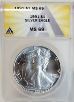 1991 AMERICAN SILVER EAGLE $1 GEM BRILLIANT UNCIRCULATED ANACS MINT STATE 69