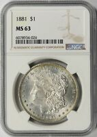 1881 MORGAN SILVER DOLLAR $1 NGC MINT STATE 63