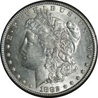 1882-P  $1 MORGAN SILVER DOLLAR AU CONDITION TINY RIM NICK REVERSE  022721013