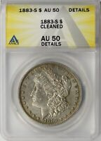 1883-S MORGAN SILVER DOLLAR $1 ANACS AU50 DETAILS - CLEANED