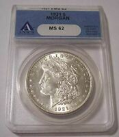1921 MORGAN SILVER DOLLAR MINT STATE 62 ANACS