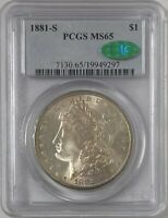1881 S MORGAN SILVER DOLLAR PCGS CAC MINT STATE 65  TONE