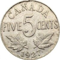CANADA 5 CENTS 1927 KM 29