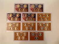 2007 2016 S PROOF PRESIDENTIAL DOLLAR 39 COIN SET NO BOX/COA IN U S MINT LENSES