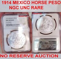 NGC UNCIRCULATED 1914 MEXICO CABALLITO PESO VERY  DATE BU &