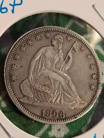 1866 SEATED HALF DOLLAR EXTRA FINE  ORIGINAL PATINA 1ST YEAR SERIES