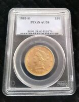 1881 S $10 GOLD LIBERTY EAGLE COIN PCGS AU 58 OLD GREEN HOLD