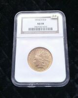 1914 D $10 PCGS AU58   INDIAN EAGLE   GOLD COIN AWESOME STRI