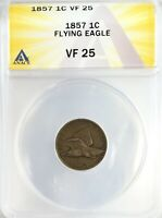 1857 FLYING EAGLE CENT 1C CIRCULATED  FINE ANACS VF25