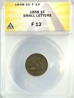 1858 SMALL LETTERS FLYING EAGLE CENT 1C CIRCULATED FINE ANACS F12
