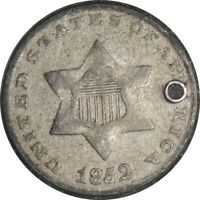 1852 3CS 3 CENT SILVER  VF DETAILS  HOLED / CULL CONDITION  041221044