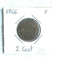 1866  2 CENT SHIELD COIN - F