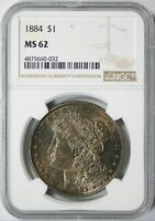 1884 MORGAN SILVER DOLLAR $1 NGC MINT STATE 62 TONED