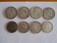 EIGHT LARGE SILVER MEXICAN COINS 7 DIFFERENT NO RESERVE  5 1