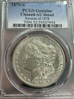 1879 S REVERSE 78 MORGAN DOLLAR AU PCGS ALMOST UNCIRCULATED