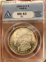 1886-S/S MORGAN DOLLAR VAM-4 PROOFLIKE ANACS MINT STATE 63PLTONED  DATE FOR PL