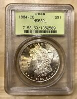 1884 CC MORGAN SILVER DOLLAR PROOFLIKE TONED OBVERSE PCGS MINT STATE 63PL OLD HOLDER