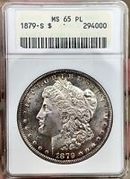 1879-S MORGAN DOLLAR MINT STATE 65PLTONER PIECEOLD ANACS SOAPBOX HOLDER